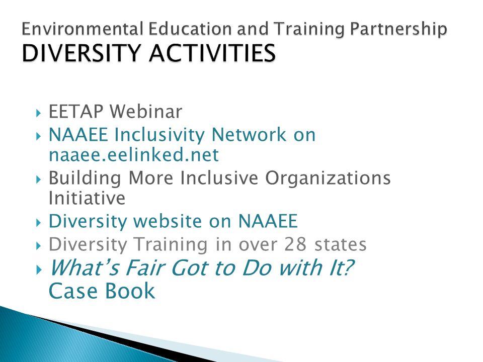 EETAP Webinar NAAEE Inclusivity Network on naaee.eelinked.net Building More Inclusive Organizations Initiative Diversity website on NAAEE Diversity Tr