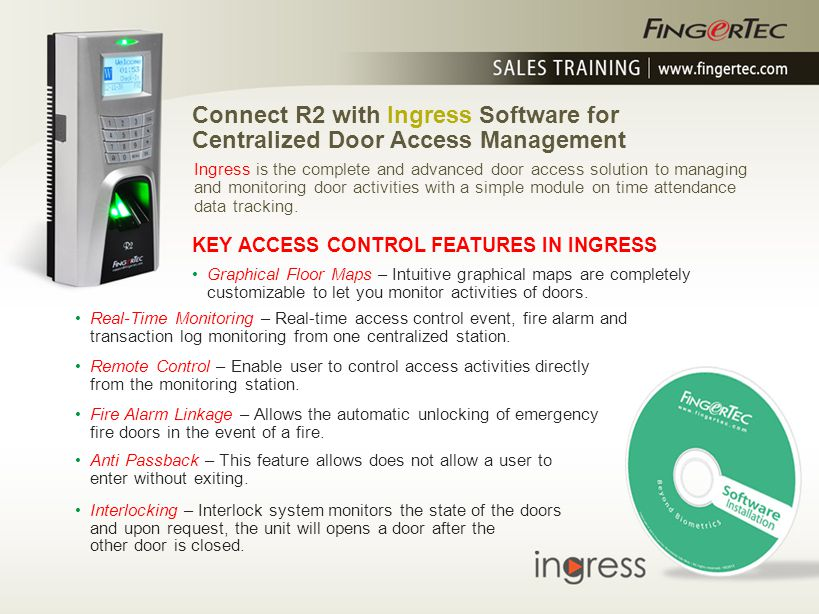 Connect R2 with Ingress Software for Centralized Door Access Management ADDITIONAL TIME ATTENDANCE FUNCTIONS IN INGRESS 6-column attendance data – Ingress provides weekly schedule with 3-pair of IN/OUT attendance data for monitoring.