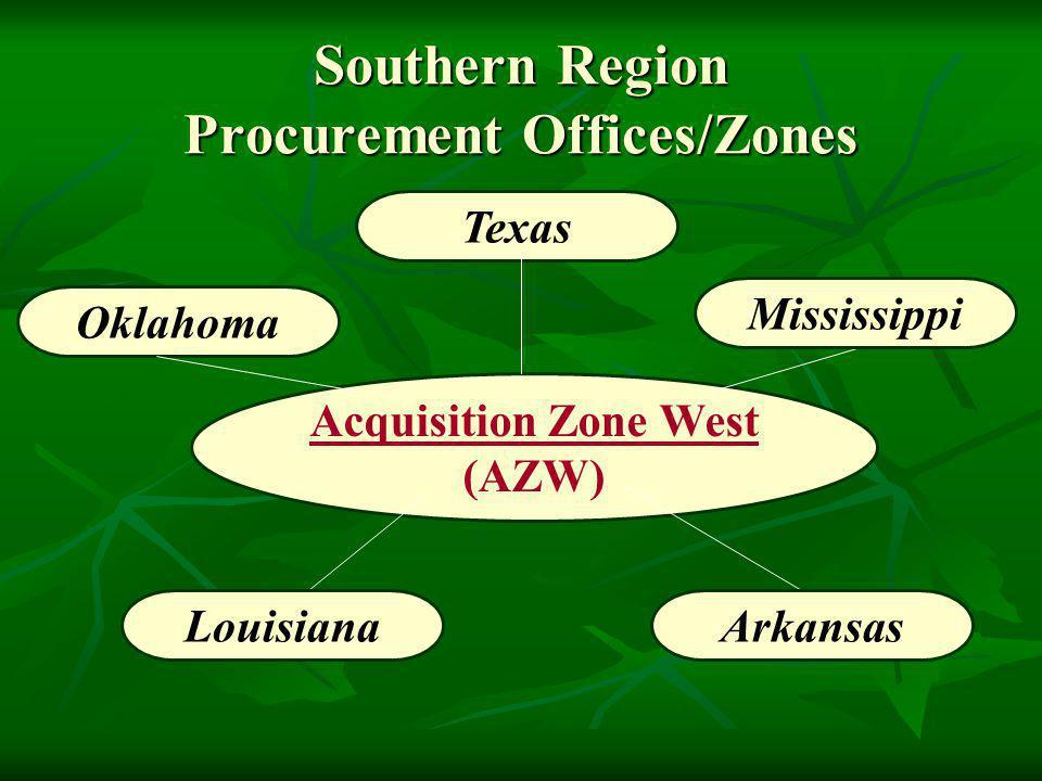 Southern Region Procurement Offices/Zones Texas Acquisition Zone West (AZW) Oklahoma Mississippi LouisianaArkansas