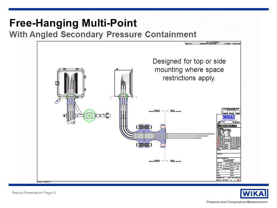 Pressure and Temperature Measurement Reactor Presentation / Page 13 Designed for top or side mounting where space restrictions apply. Free-Hanging Mul