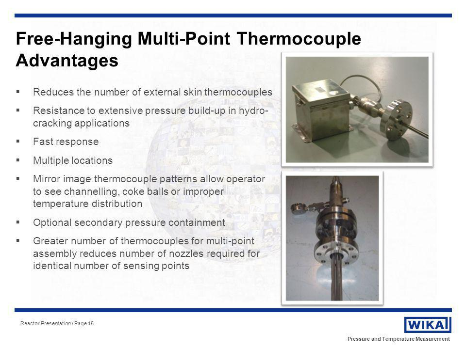 Pressure and Temperature Measurement Reactor Presentation / Page 15 Free-Hanging Multi-Point Thermocouple Advantages Reduces the number of external sk