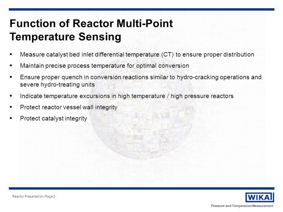 Pressure and Temperature Measurement Reactor Presentation / Page 2 Function of Reactor Multi-Point Temperature Sensing Measure catalyst bed inlet diff