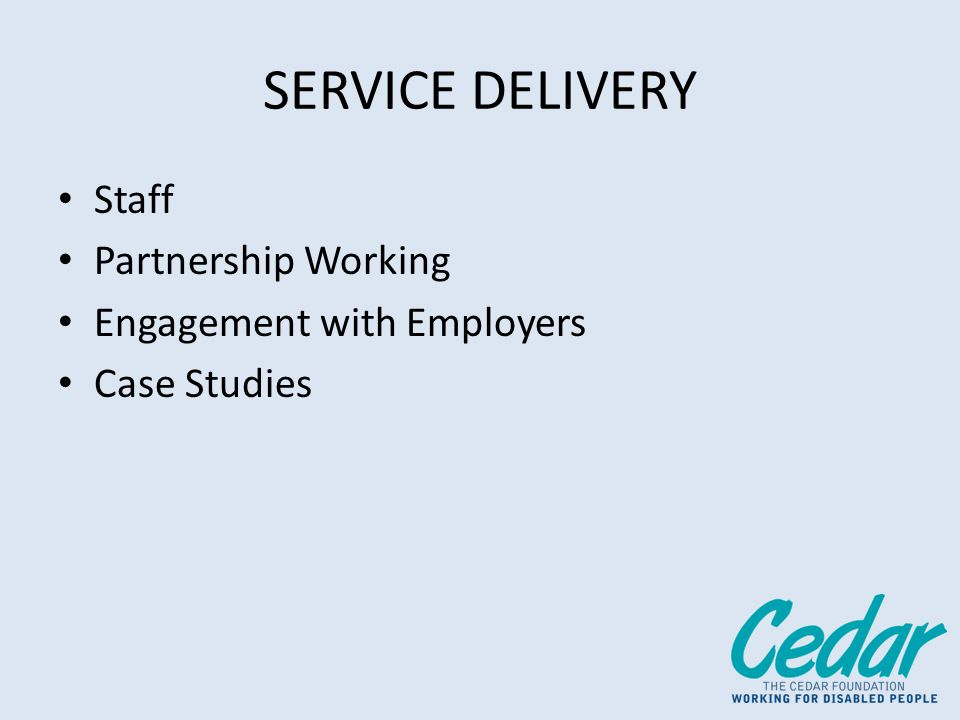 SERVICE DELIVERY Staff Partnership Working Engagement with Employers Case Studies