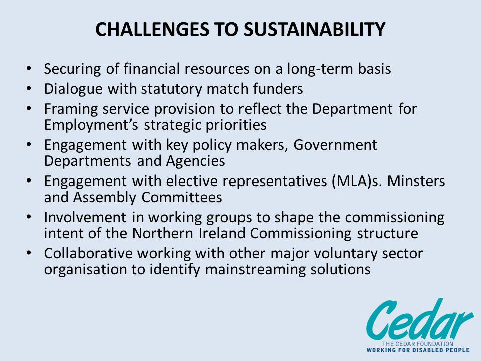 CHALLENGES TO SUSTAINABILITY Securing of financial resources on a long-term basis Dialogue with statutory match funders Framing service provision to reflect the Department for Employments strategic priorities Engagement with key policy makers, Government Departments and Agencies Engagement with elective representatives (MLA)s.
