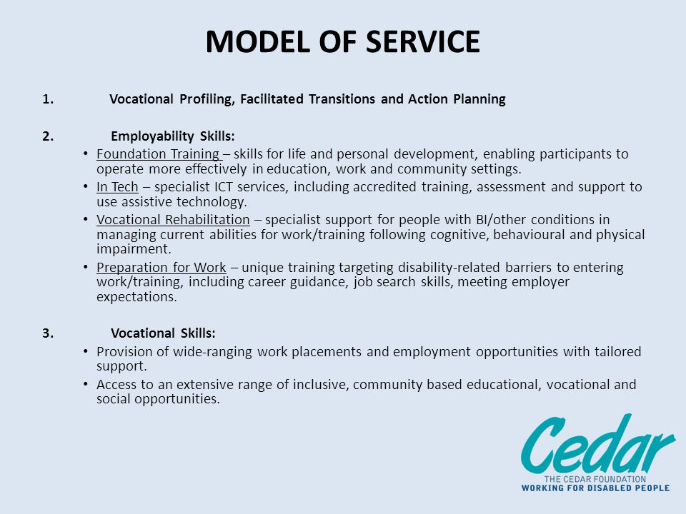 MODEL OF SERVICE 1.Vocational Profiling, Facilitated Transitions and Action Planning 2.Employability Skills: Foundation Training – skills for life and personal development, enabling participants to operate more effectively in education, work and community settings.