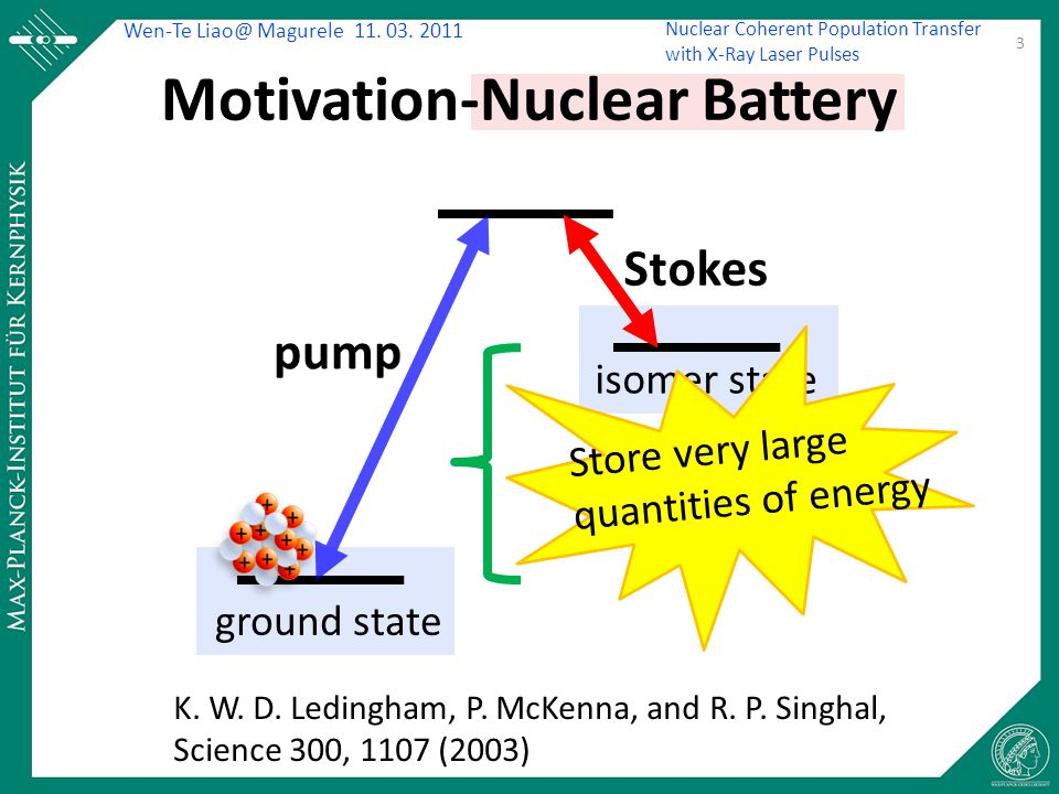 Wen-Te Liao@ Magurele 11. 03. 2011 Nuclear Coherent Population Transfer with X-Ray Laser Pulses Motivation-Nuclear Battery K. W. D. Ledingham, P. McKe