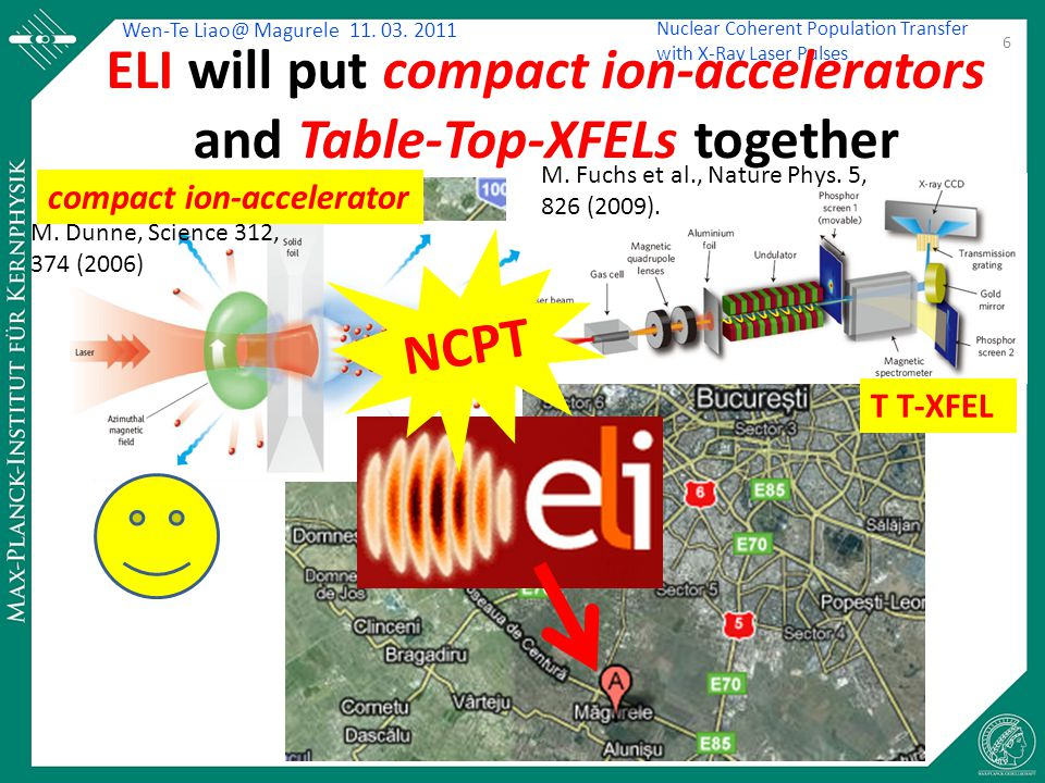 Wen-Te Liao@ Magurele 11. 03. 2011 Nuclear Coherent Population Transfer with X-Ray Laser Pulses ELI will put compact ion-accelerators and Table-Top-XF