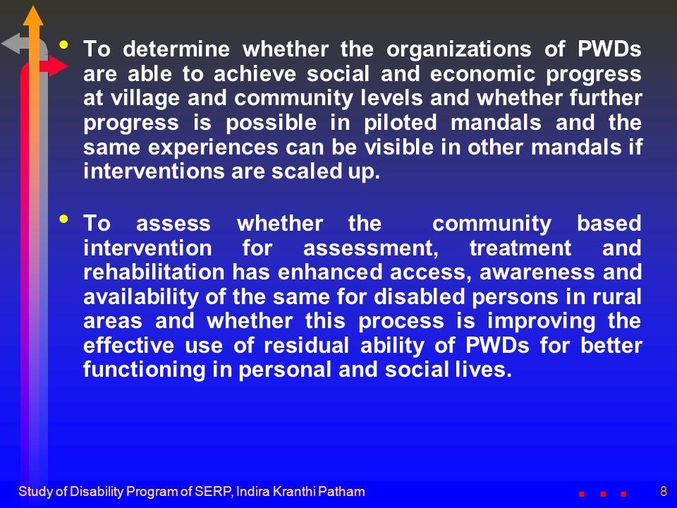 Study of Disability Program of SERP, Indira Kranthi Patham19 Success story