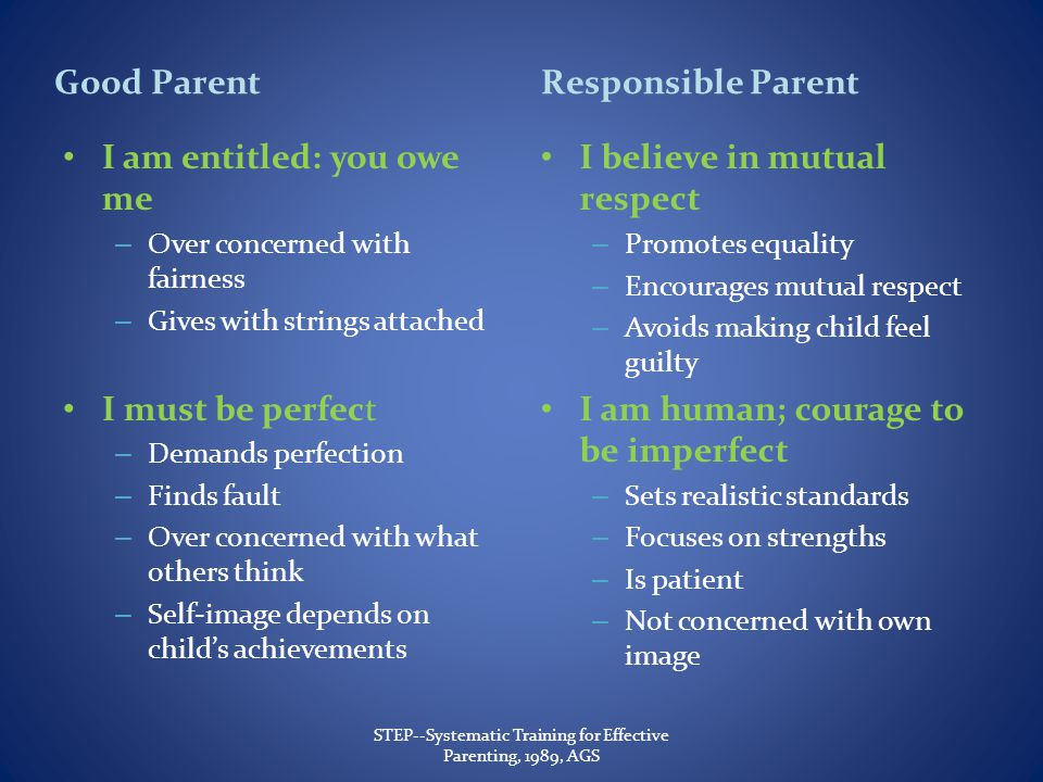Good Parent I am entitled: you owe me – Over concerned with fairness – Gives with strings attached I must be perfect – Demands perfection – Finds fault – Over concerned with what others think – Self-image depends on childs achievements Responsible Parent I believe in mutual respect – Promotes equality – Encourages mutual respect – Avoids making child feel guilty I am human; courage to be imperfect – Sets realistic standards – Focuses on strengths – Is patient – Not concerned with own image STEP--Systematic Training for Effective Parenting, 1989, AGS