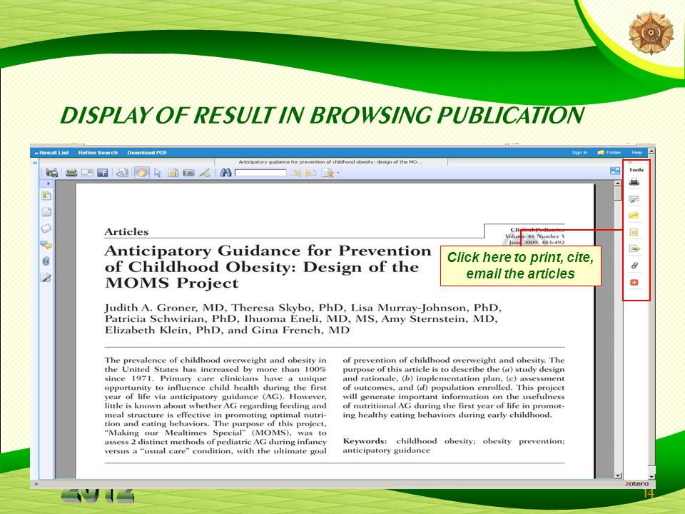 14 DISPLAY OF RESULT IN BROWSING PUBLICATION Click here to print, cite,  the articles