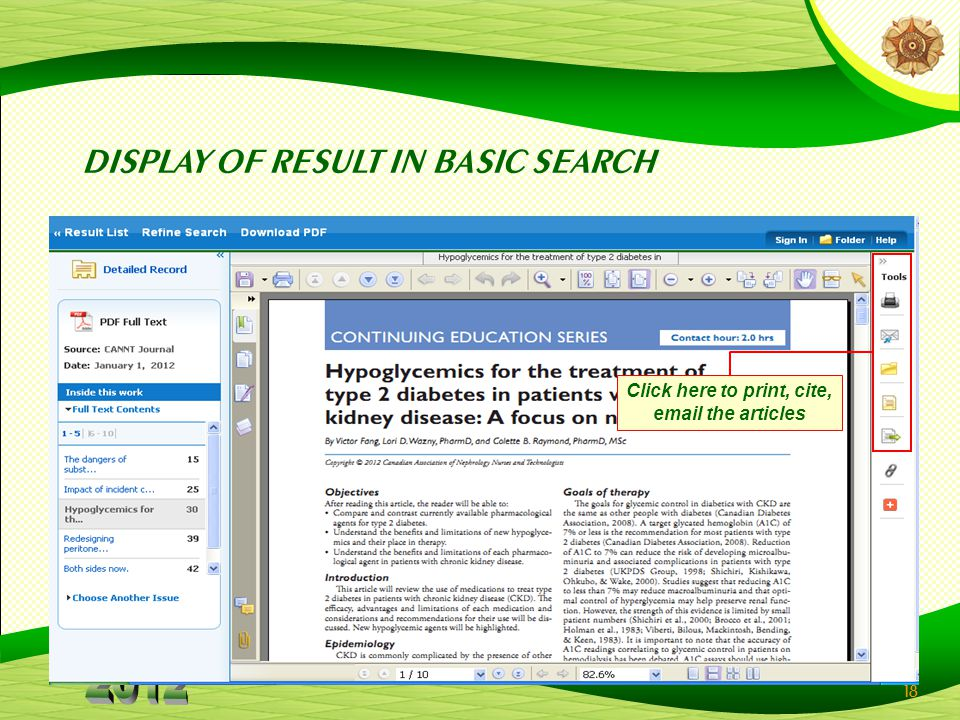 18 DISPLAY OF RESULT IN BASIC SEARCH Click here to print, cite, email the articles