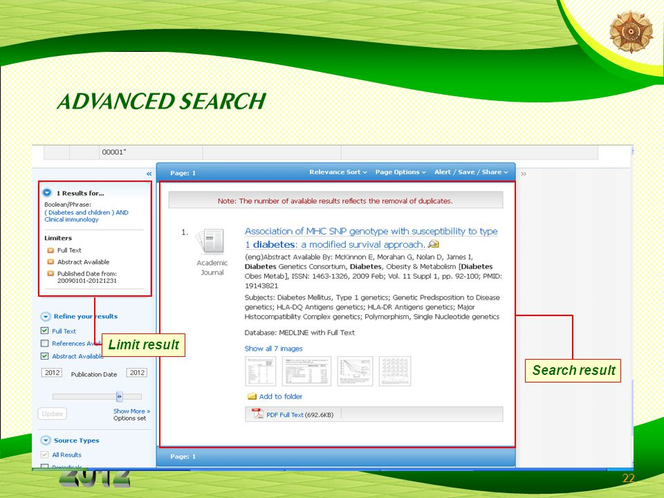 22 Search result Limit result ADVANCED SEARCH