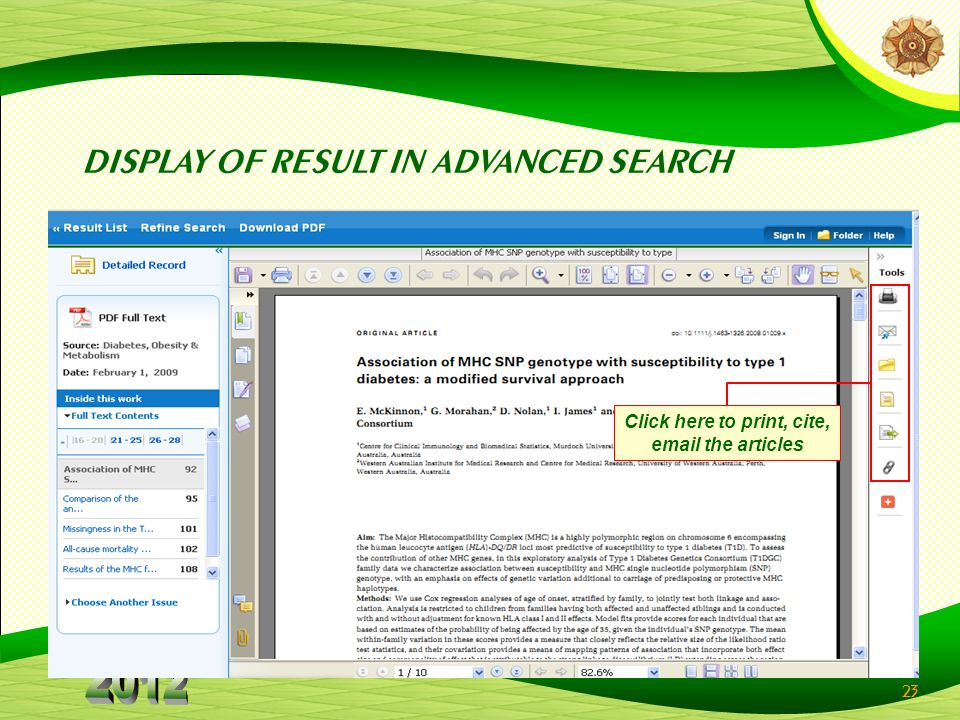 23 DISPLAY OF RESULT IN ADVANCED SEARCH Click here to print, cite, email the articles
