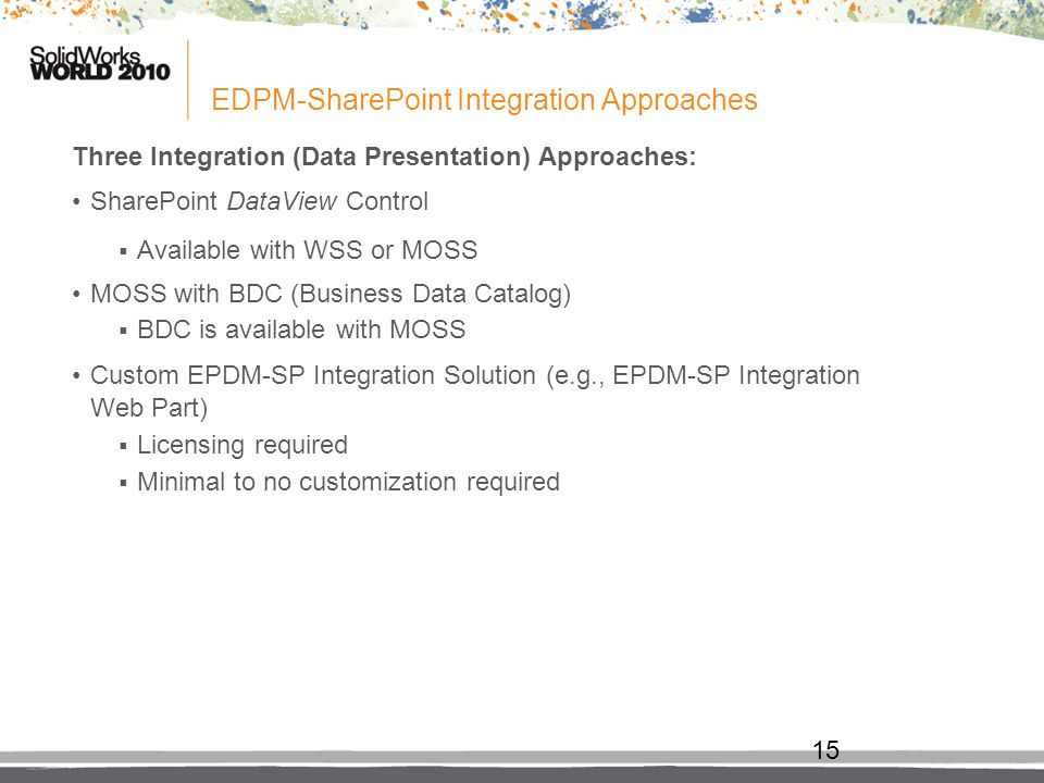 EDPM-SharePoint Integration Approaches Three Integration (Data Presentation) Approaches: SharePoint DataView Control Available with WSS or MOSS MOSS w