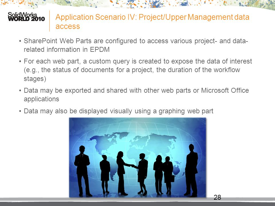 Application Scenario IV: Project/Upper Management data access SharePoint Web Parts are configured to access various project- and data- related informa