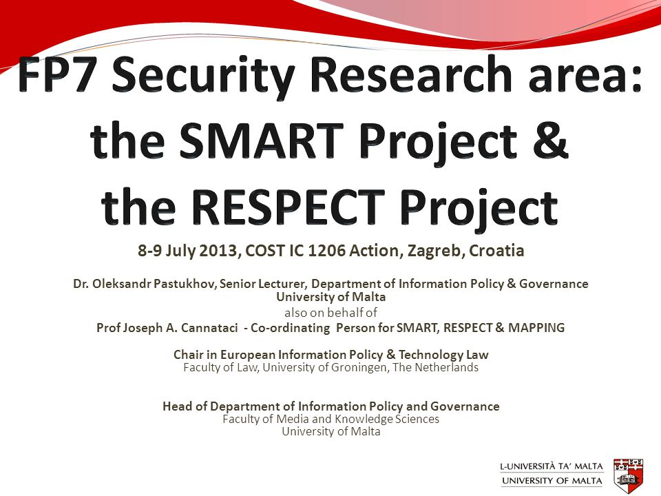 8-9 July 2013, COST IC 1206 Action, Zagreb, Croatia Dr. Oleksandr Pastukhov, Senior Lecturer, Department of Information Policy & Governance University