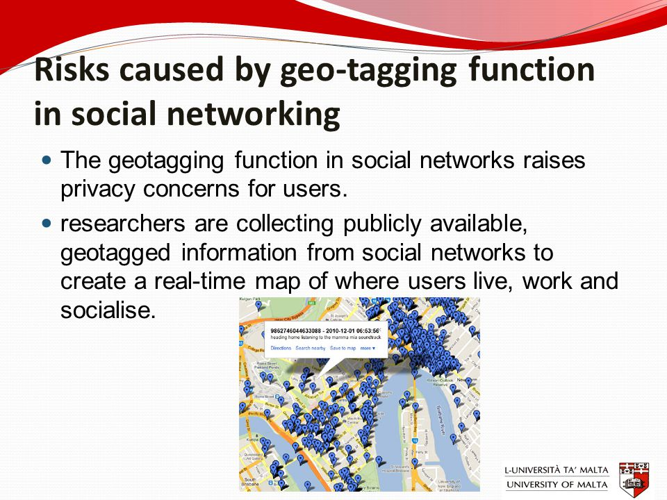 Risks caused by geo-tagging function in social networking The geotagging function in social networks raises privacy concerns for users. researchers ar