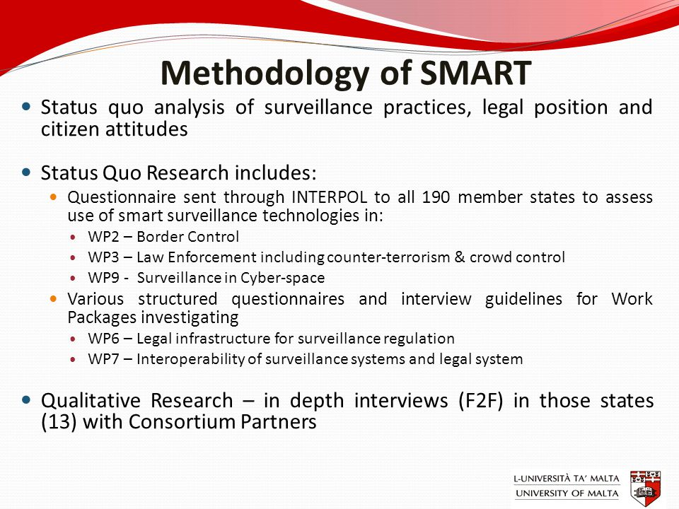 Methodology of SMART Status quo analysis of surveillance practices, legal position and citizen attitudes Status Quo Research includes: Questionnaire s
