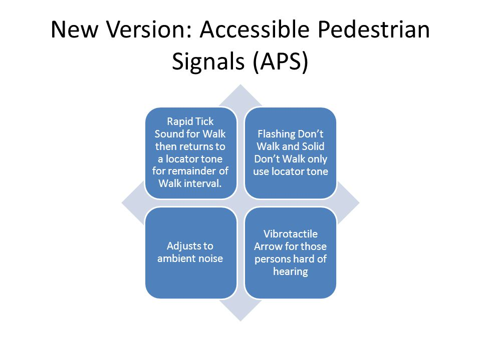 New Version: Accessible Pedestrian Signals (APS) Rapid Tick Sound for Walk then returns to a locator tone for remainder of Walk interval. Flashing Don