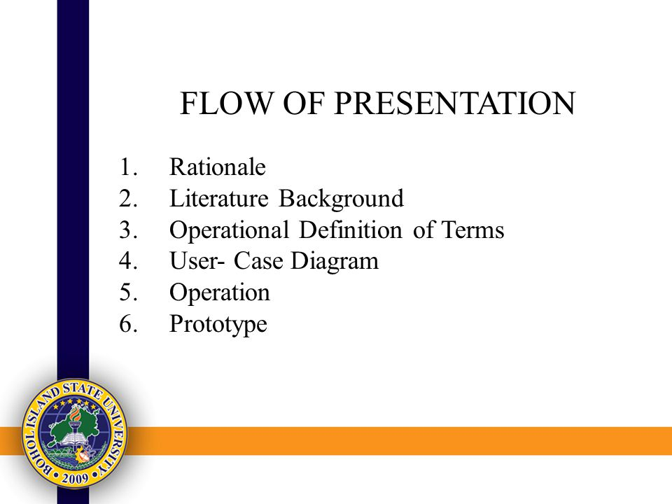 FLOW OF PRESENTATION 1.Rationale 2.Literature Background 3.Operational Definition of Terms 4.User- Case Diagram 5.Operation 6.Prototype