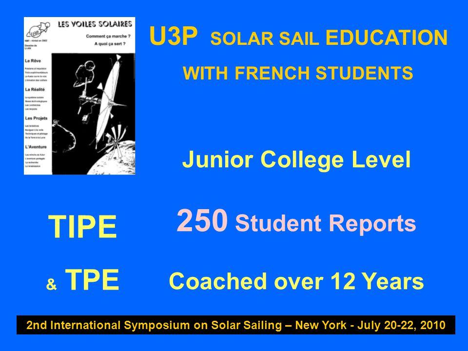 U3P SOLAR SAIL EDUCATION WITH FRENCH STUDENTS 2nd International Symposium on Solar Sailing – New York - July 20-22, 2010 Junior College Level 250 Stud