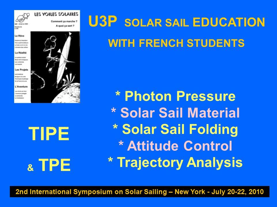 U3P SOLAR SAIL EDUCATION WITH FRENCH STUDENTS 2nd International Symposium on Solar Sailing – New York - July 20-22, 2010 * Photon Pressure * Solar Sai