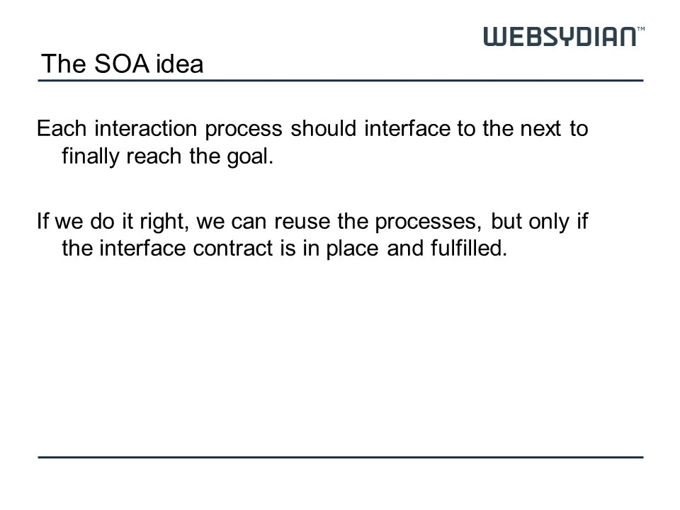 The SOA idea Each interaction process should interface to the next to finally reach the goal. If we do it right, we can reuse the processes, but only