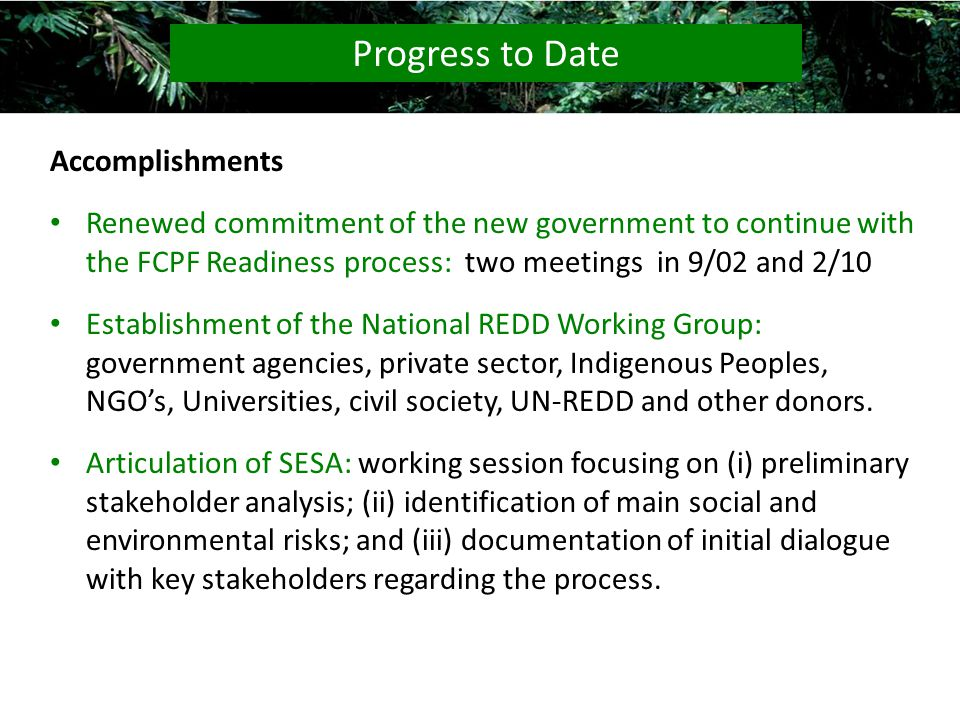 Accomplishments Renewed commitment of the new government to continue with the FCPF Readiness process: two meetings in 9/02 and 2/10 Establishment of the National REDD Working Group: government agencies, private sector, Indigenous Peoples, NGOs, Universities, civil society, UN-REDD and other donors.