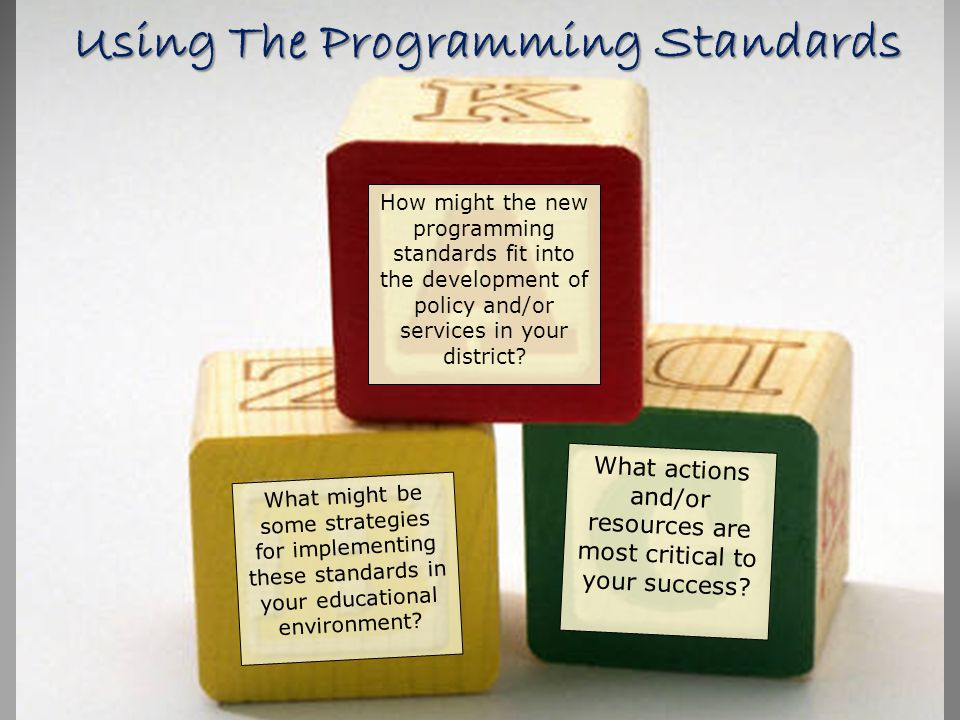 Using The Programming Standards How might the new programming standards fit into the development of policy and/or services in your district? What migh