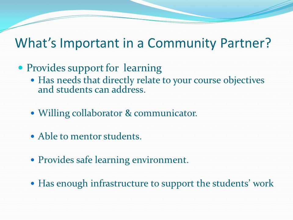 Whats Important in a Community Partner.