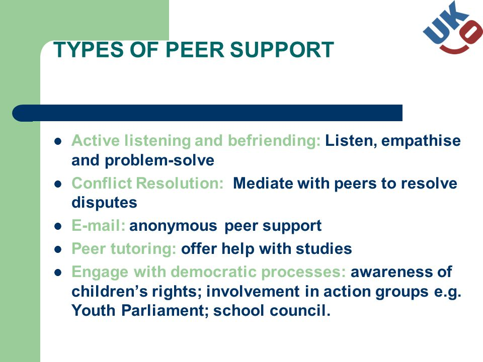 TYPES OF PEER SUPPORT Active listening and befriending: Listen, empathise and problem-solve Conflict Resolution: Mediate with peers to resolve disputes E-mail: anonymous peer support Peer tutoring: offer help with studies Engage with democratic processes: awareness of childrens rights; involvement in action groups e.g.