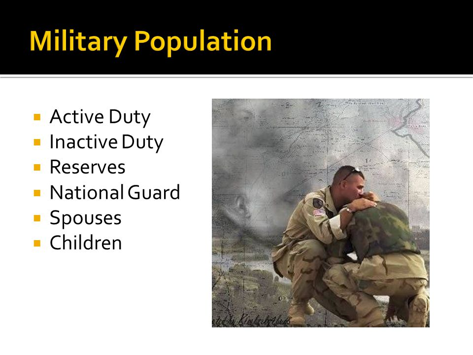 Active Duty Inactive Duty Reserves National Guard Spouses Children