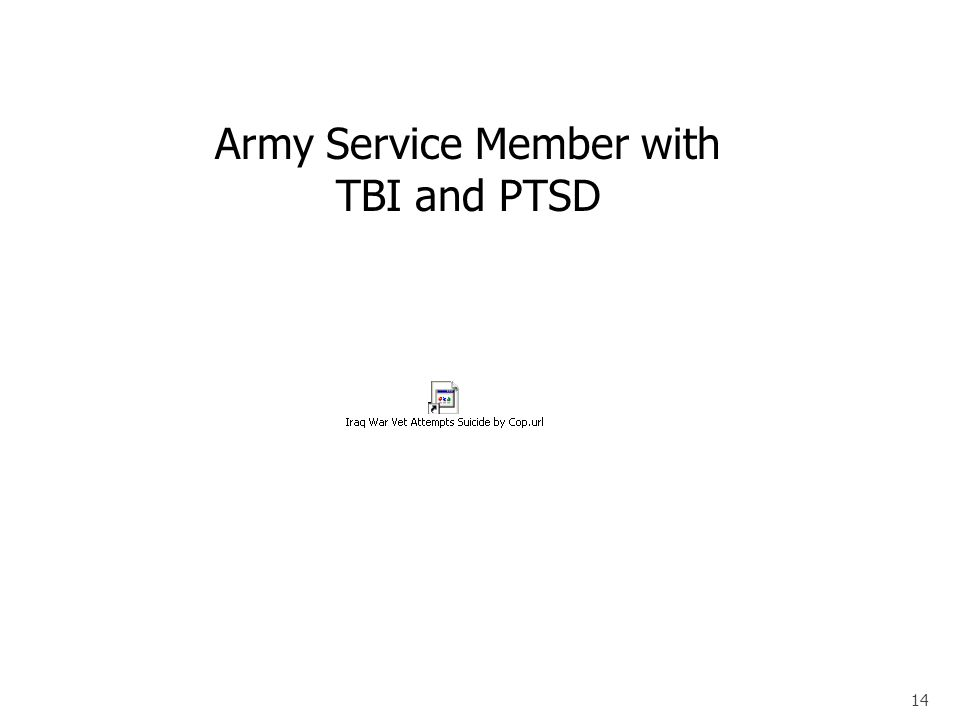 14 Army Service Member with TBI and PTSD