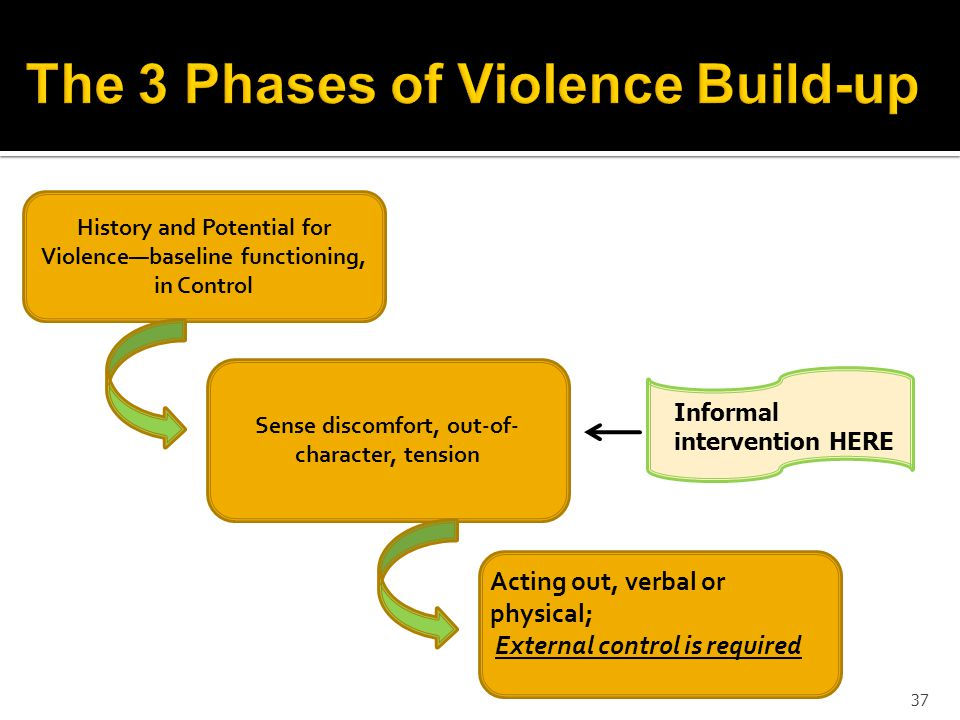 37 History and Potential for Violencebaseline functioning, in Control Sense discomfort, out-of- character, tension Informal intervention HERE Acting out, verbal or physical; External control is required