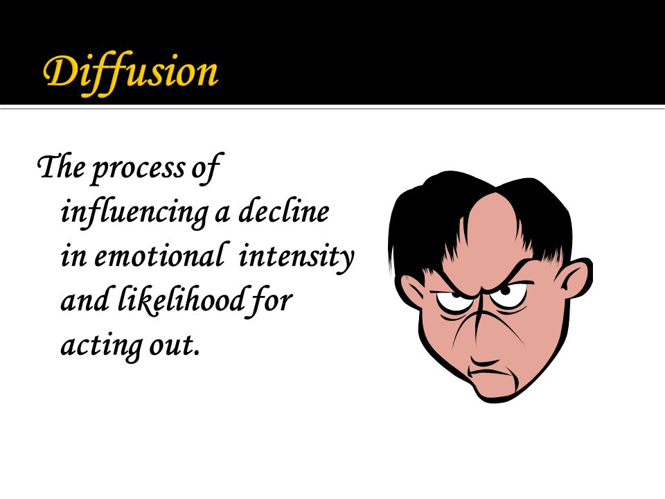 The process of influencing a decline in emotional intensity and likelihood for acting out.