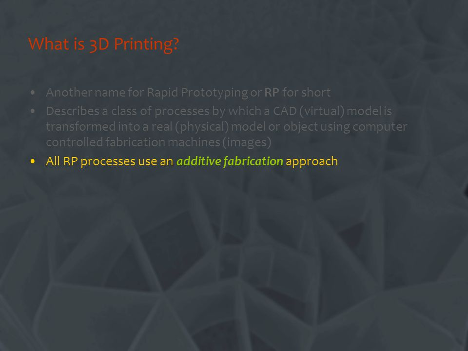 What is 3D Printing.