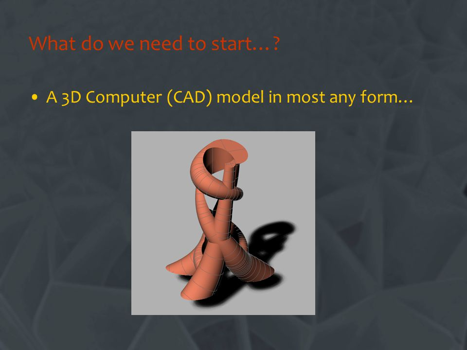 A 3D Computer (CAD) model in most any form…