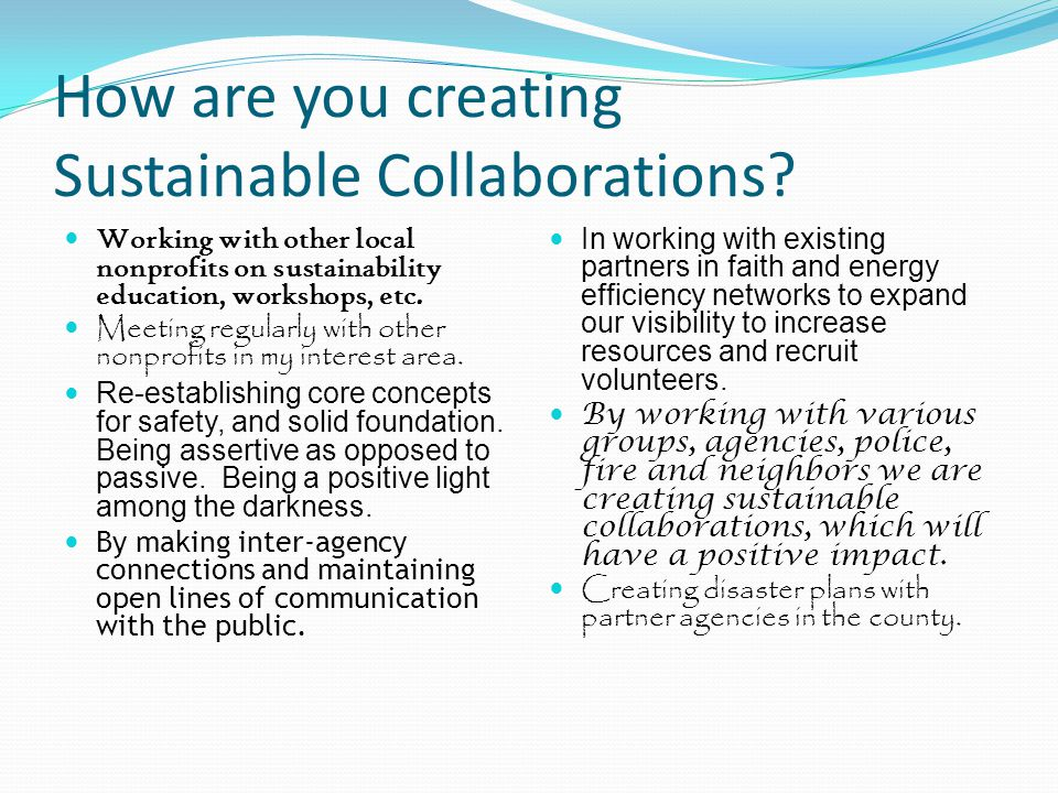 How are you creating Sustainable Collaborations? Working with other local nonprofits on sustainability education, workshops, etc. Meeting regularly wi