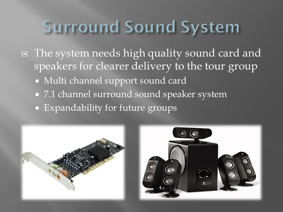 The system needs high quality sound card and speakers for clearer delivery to the tour group Multi channel support sound card 7.1 channel surround sou