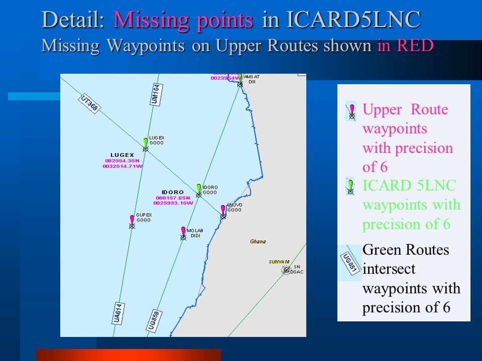 Detail: Missing points in ICARD5LNC Missing Waypoints on Upper Routes shown in RED Green Routes intersect waypoints with precision of 6 ICARD 5LNC way