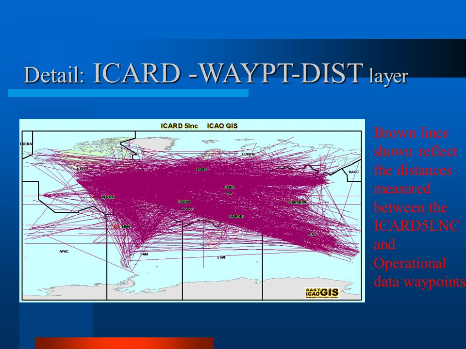 Detail: ICARD -WAYPT-DIST layer Brown lines shown reflect the distances measured between the ICARD5LNC and Operational data waypoints