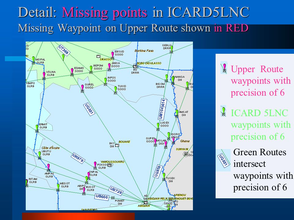 Detail: Missing points in ICARD5LNC Missing Waypoint on Upper Route shown in RED Green Routes intersect waypoints with precision of 6 ICARD 5LNC waypo