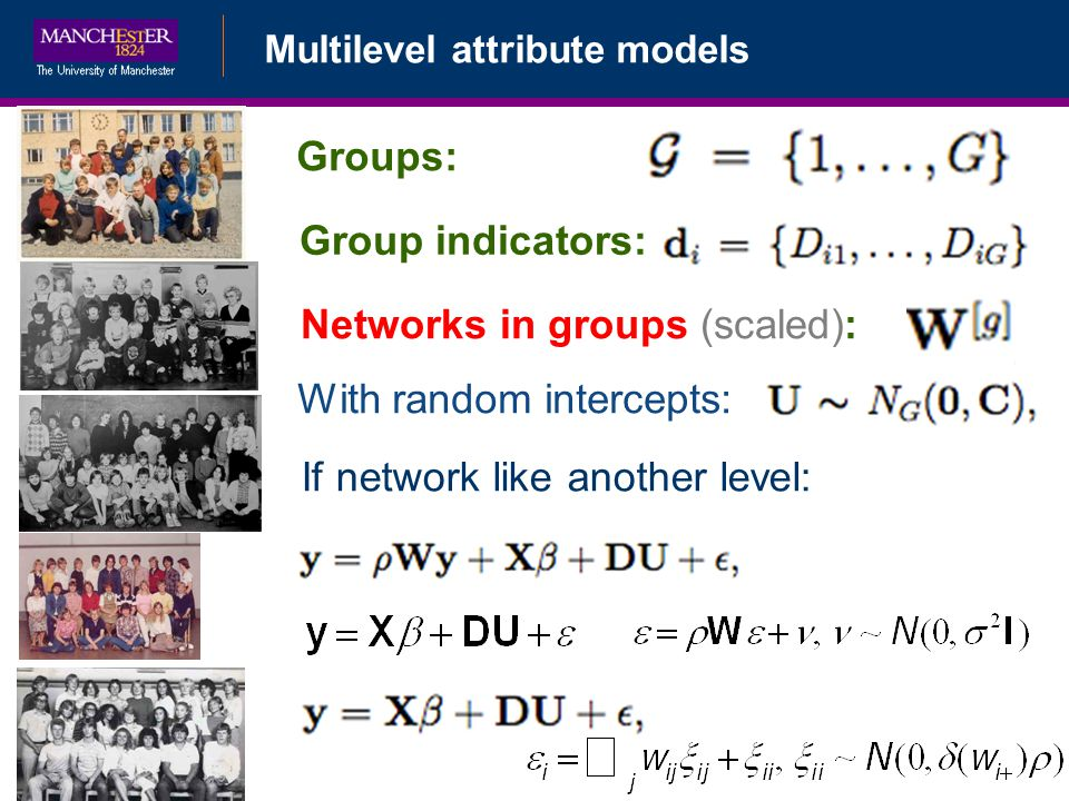 Multilevel attribute models If network like another level: Groups: Group indicators: Networks in groups (scaled): With random intercepts: