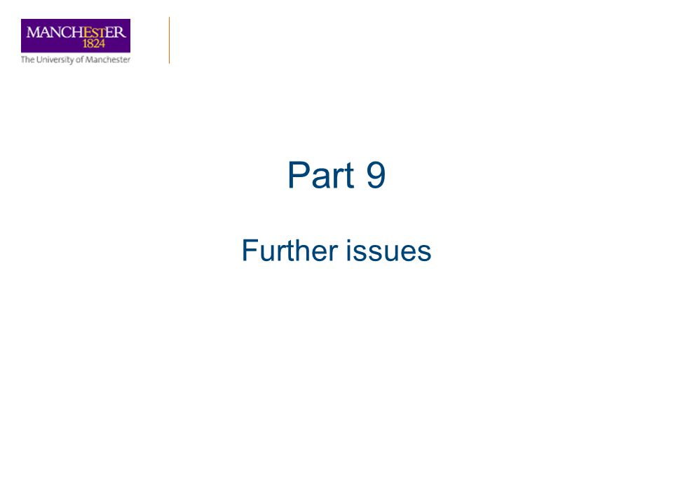Part 9 Further issues