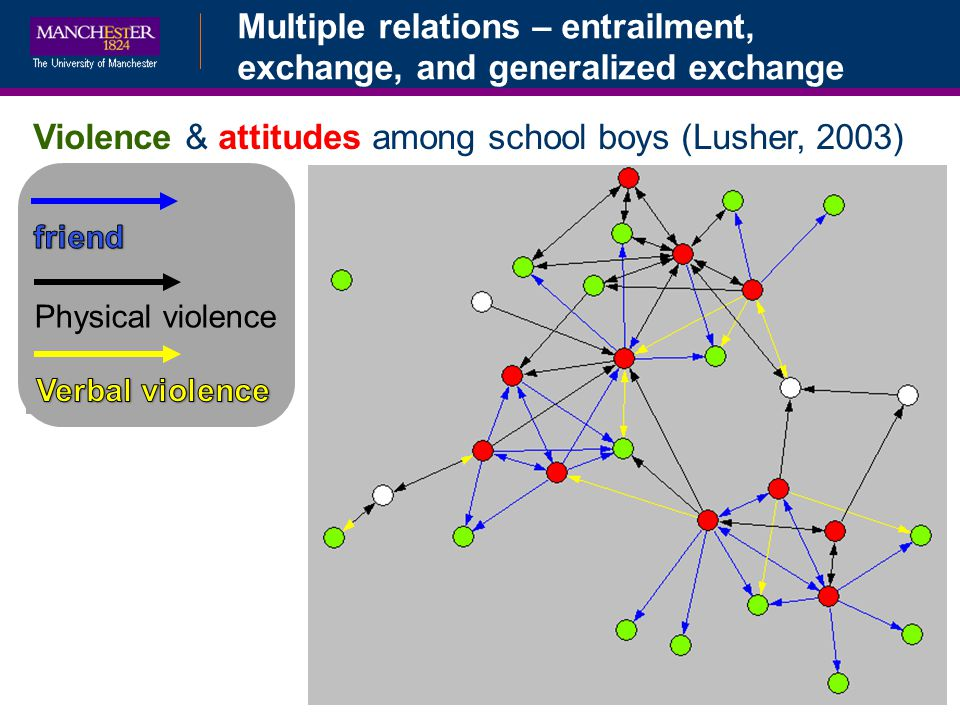Multiple relations – entrailment, exchange, and generalized exchange Physical violence Violence & attitudes among school boys (Lusher, 2003)
