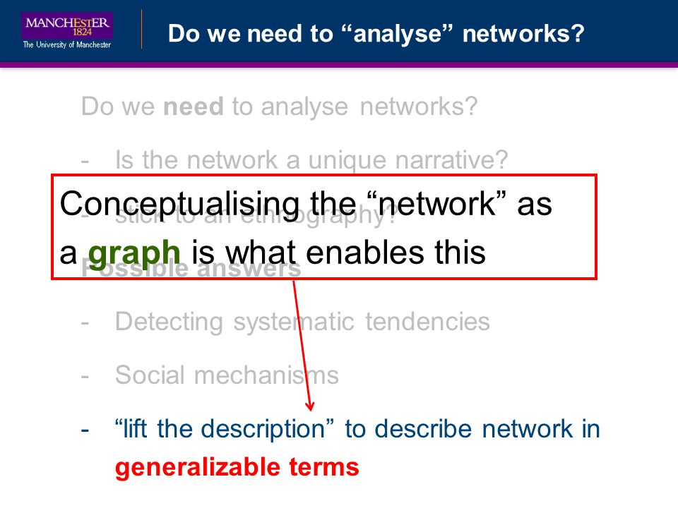Do we need to analyse networks. -Is the network a unique narrative.