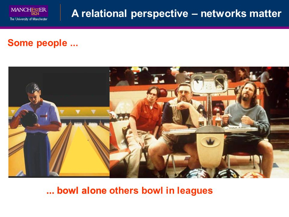 A relational perspective – networks matter... bowl alone others bowl in leagues Some people......
