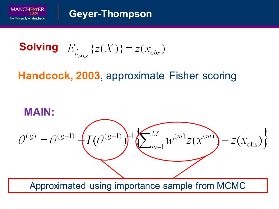 Geyer-Thompson Solving Handcock, 2003, approximate Fisher scoring MAIN: Approximated using importance sample from MCMC