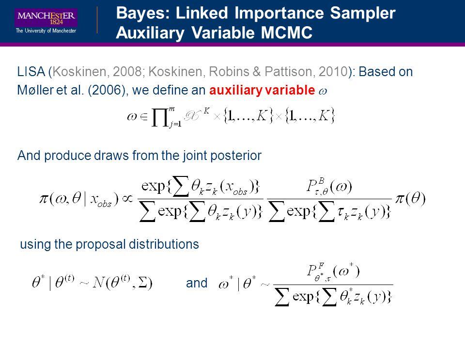 Bayes: Linked Importance Sampler Auxiliary Variable MCMC LISA (Koskinen, 2008; Koskinen, Robins & Pattison, 2010): Based on Møller et al.