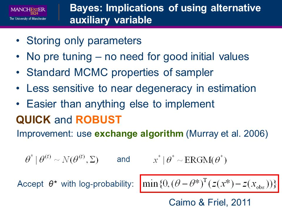Bayes: Implications of using alternative auxiliary variable Improvement: use exchange algorithm (Murray et al. 2006) and Accept θ* with log-probabilit